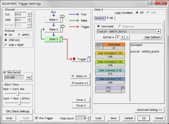 The SD/eMMC Trigger Setting dialog with CRC Error Trigger