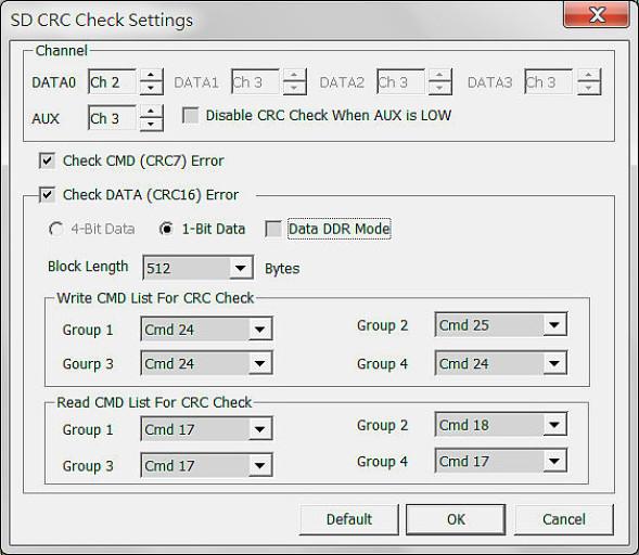 SD CRC Error Trigger - Check Settings