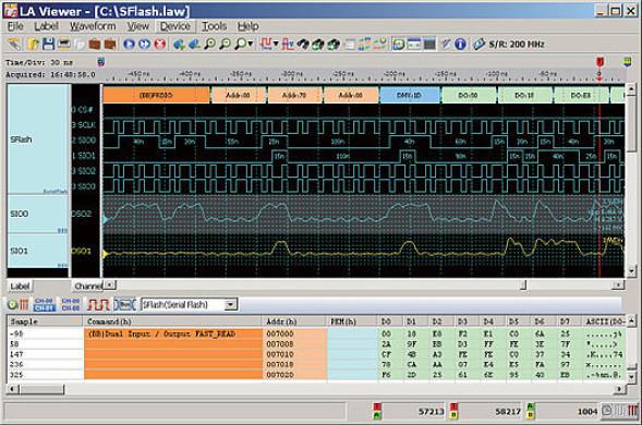 PC-Logikanalysator mit Bus-Trigger SD3.0. eMMC4.5, Serial Flash etc.
