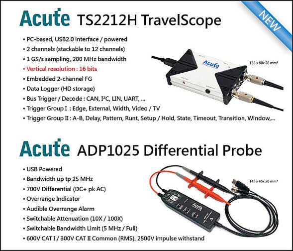 PC-Oszilloskop mit 700V Differential-Tastkopf und galvanischer Trennung