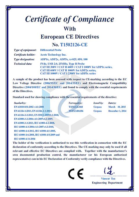 CE-Zertifizierung - aktive Differentialtastköpfe - ADP-Serie von Acute