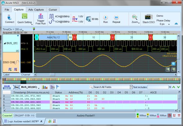 Simultane analoge und digitale Signalanalyse mit MSO2000